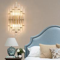 Accesorios de luces de vanidad led Hotel junto a la cama Lámparas de pared de cristal Sala de estar Pasillo Escaleras de pared Cuarto de baño Moderno led Aplique de pared de oro