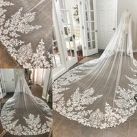 Vintage Ivory White Cathedral Length Wedding Veils 1T One La...