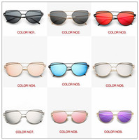18 Colors Vintage Lady Rose Gold Cat Eye Sunglasses Women Br...