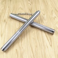 In acciaio inox bastone autodifesa antiscivolo Nunchakus combattimento effettivo materiale d'arte marziale argentato Nunchaku vendita calda 7 5bk jj