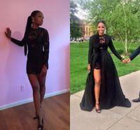 Sıcak Satış Kısa Gelinlik Modelleri Seksi Siyah Dantel Uzun Kollu Ayrılabilir Coat Kat Uzunluk Mini Parti Akşam Pageant Elbise See Through BO861