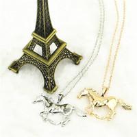 Мода Ювелирные Изделия Лошадь Подвесное Ожерелье Для Женщин Дамы Серебряная Позолоченная Девушка Мама Подарочная Бесплатная Доставка