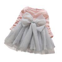 Baby meisjes herfst schattige jurk kinderen mesh prinses grote boog lange mouw baljurk jurken verjaardagsfeestje voor kinderkleding