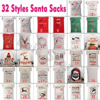 Canvas Santa Sacks Christmas Gift Bags Drawstring Xmas Canva...