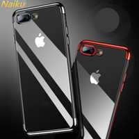 Métal de galvanoplastie Clear Case Soft TPUSilicone Couverture de protection anti-choc pour iPhone X 8 7 6 6 S Plus Samsung S8 S9 Plus cas