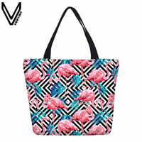 VEEVANV neue Mode Flamingo, bedruckte Canvas-Einkaufstaschen, Tiermotive, Strandtaschen, Damenhandtaschen, Freizeithandtaschen, Geschenke