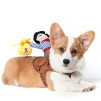 Frete grátis brinquedo Criativo roupas de cão brinquedos personalidade Engraçado Transformar cavaleiro Cowboy Pet roupas de inverno