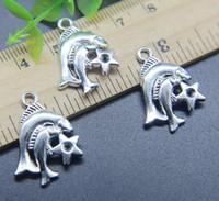 100 unids Piscis constelación encantos de la aleación colgante Retro fabricación de joyas DIY llavero antiguo colgante de plata para la pulsera pendientes 22 * 18 mm