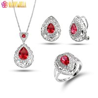 Manny&Della Sweet Hollow Water Drop Rose Red Crystal 925 Mar...