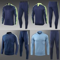 Manch City blue soccer tracksuits blue football suits men&#0...