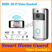 Original Eken WiFi Doorbell Vidéo sans fil Téléphone de porte 720p HD Pir Intercom Caméra IP Deux méthode Audio 166 ° Catégorie de caméra grand-angle
