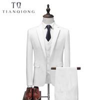 Weiß 4 Stück Anzug Männer Korean Fashion Business Herren Anzüge Designer 2018 Slim Fit Hochzeit Anzüge für Männer Jacke + Weste + Hosen + Tie