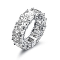 Big CZ Cubic Zircon Stone White Gold Color Rings for Women Fashion Jewelry Day Gift Fashion Ring 925 Sterling Silver Men's Ring wihte pink