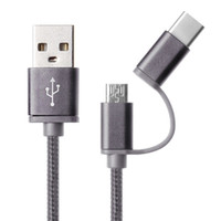2-In-1 USB 2.0 Macho a USB 3.1 Tipo C / Micro USB Weave Data Cable de carga rápida para Android # 156 multi colores