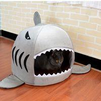 Gato Cama para perros en forma de tiburón ratón lavable Casa de perro cama del animal doméstico dormir de perro de la perrera jerarquía del animal doméstico cojín extraíble gris azul colores rosados Nueva