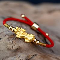 Suerte rojo de la cuerda de las pulseras de plata de ley 999 de color oro PIXIU tibetanos budistas nudos pulsera ajustable del encanto para las mujeres