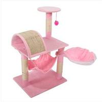 """Бесплатная доставка оптовые продажи M46 32"""" стабильный милый сизаль Cat Climb держатель Cat Tower ягненка розовый Cat мебель скребки"""