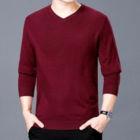 Business Men' s Cashmere Sweaters 2018 Pure Color V Neck...