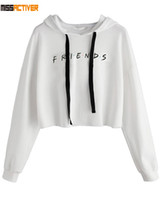Missactiver Women Friends TV Show Hoodie Casual Loose Crop Hoodie Tops Cotton Friends Letters Print Pullover Long Sleeve Shirts