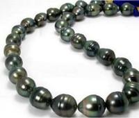 12-13mm Perlenketten Natürliche Tahitian Schwarz Grün Barock Perlenkette 18 Zoll 14 Karat Goldverschluss