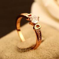 Banhado a ouro 18K anel de dedo Letter Moda D Anel encantador para Wedding Party Mulheres Cubic Zirconia jóias Anel traje indiano Acessórios