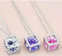 Moda 925 collar de cadena de plata esterlina Austria CZ Diamond Crystal Love Magic Cube forma cuadrada collar colgante para las mujeres 30 unids