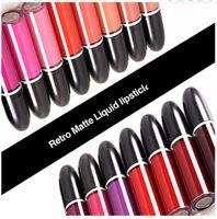 브랜드 M 무광택 액체 립스틱 뷰티 립 메이크업 방수 레트로 매트 립글로스 장기 지속 LipGloss 화장품 15 색 DHL 무료 배송