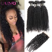 Unprocessed Peruvian Kinky Curly Virgin Hair Bundles with La...
