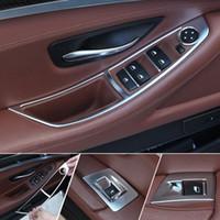 4 Adet / takım Krom Araba Oto Gümüş Kapı Pencere Anahtarı Paneli Trim Kalıp Süslemeleri BMW 5 Serisi Için Fit F10 520 525 2011-2013 2014 2015