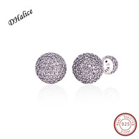 Authentic 100% 925 Sterling Silver Earring Pave Drops With F...