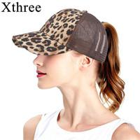 Xthree Leopard-Druck-Sommer-Baseballmütze für Frauen Messy Bun Lässige Hip Hop-Verschluss zurück Gorras Hombre Hüte