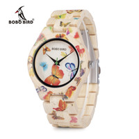 Großhandel BOBO VOGEL Damen Uhren Bambus Holz Quarz Schmetterling Stunde Marke Designer Festival Geschenke mit Box Drop Shipping