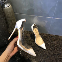 2018 New style transparent Women Shoes Red Bottoms High Heels Sexy summer Pointed Toe fashion Red Sole 12cm Pumps Come With dress shoes