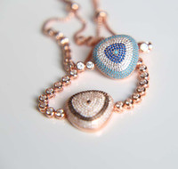 Rosa banhado a ouro micro pavimentar multi cor cz nano turquesa evil eye cz pulseira de tênis de luxo europeu mulheres menina presente jóias