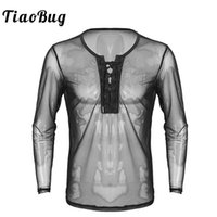TiaoBug Mens Lace Up Mesh See Through Long Sleeve T- Shirt Me...