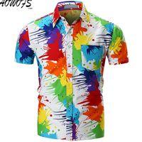 2018 camisa hawaiana para hombre de verano masculino playa impresa camisetas Casual camisa masculina ropa de marca manga corta talla M-XXL C27