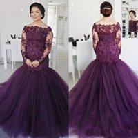 2018 Elegante Lace Applique Mangas Compridas Sereia Vestidos de Baile Plus Size Bateau Pescoço Barato Evening Gowns Beads Mulheres Formal Wear