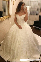 Modest Ball Gown Prom Dresses New Off The Shoulder Sweep Str...
