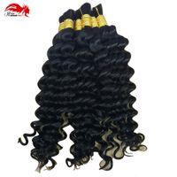 Hannah Product Prodotto all'ingrosso di capelli umani in fabbrica prezzo 3 pacchetto 150g brasiliano profondo onda riccia onda capelli per intrecciare i capelli umani nessuna trama