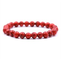 Hohe Qualität 8mm Elastizität Rot Stein Perlen Armband Yoga Energy Natural Stone Armband MalesieFemale Geschenke