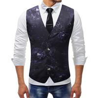Полиэстер мужской костюм жилет осень мужская мода 3D печать цветок свадебное платье жилет повседневная Slim Fit жилет плюс размер 5XL для мужчин одежда