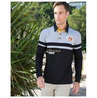 Avrupa Boyutu Yeni Marka Erkek Katı Uzun Kollu Polo Gömlek Sonbahar Tam Kollu Sıcak Gömlek Casual Baskı Kot Mavi Tops