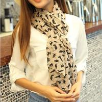 36c07118a Moda gasa de seda de imitación bufanda de las mujeres negro albaricoque  color rosa pequeño gato bufandas de calidad superior para la primavera  otoño 4 8gd ...