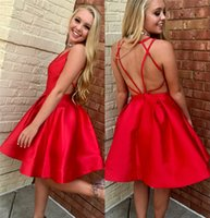 Sexy Red Short Backless Homecoming Dresses 2019 A Line Knee ...
