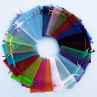 500pcs / серия Solid Multi-Color органза ювелирные изделия сумки Luxury Wedding Voile мешок подарка Drawstring ювелирных изделий Упаковка подарка Кристмас мешка 9 * 12см