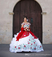 2018 New Sexy White And Red Quinceanera Dresses With Embroid...