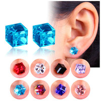 No Hole Earrings Crystal Cubic Zirconia Cube Magnet Stud Ear...