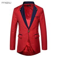 Slim Fit Vestido Terno dos homens Único Breasted Um Botão Smoking Blazer Jacket 2018 Primavera New Dinner Party Blazers Trajes de Palco