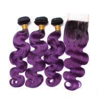 Ombre púrpura superior del cordón de cierre con 9a Virgen del pelo 3 paquetes 1B púrpura del cuerpo de la onda del pelo humano teje con 4pcs / lote de cierre de encaje