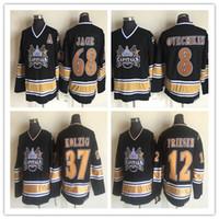 1990 dos homens do vintage Washington Capitals Hockey 37 LANGWAY KOLZIG 12 JEFF FRIESEN 32 DALE HUNTER 8 Ovechkin 68 JAGR Preto Retro CCM Jerseys